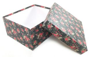 Decorative Floral Rectangle Hard Cardboard Craft Storage Xmas Brithday Gift Box